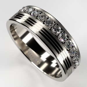 Wedding band with white background.