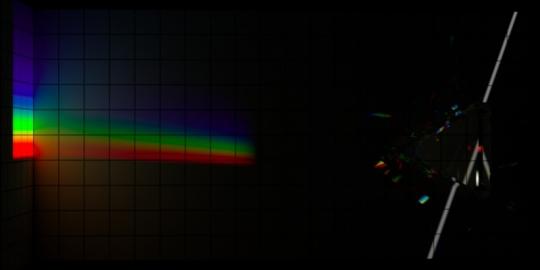 Un-dispersion of dispersion, top-down, no ambient light.
